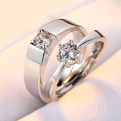 The Collection Adjustable Silver Plated Couple Ring Set of Rings D-8