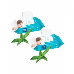 Mee Mee Caring Baby Wet Wipes with Lid (Aloe Vera,72 pcs) (Pack of 2)