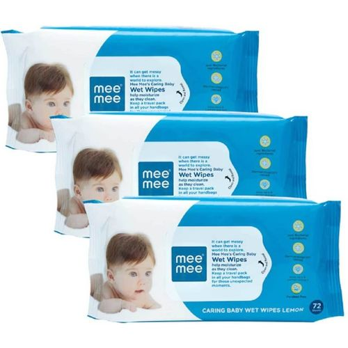 MeeMee Caring Baby Wet Wipes with Lemon & Aloe Vera Fragrance - 72 pcs (Pack of 3)(216 Wipes)