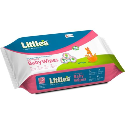Little's Soft Cleansing Baby Wipes with Aloe Vera, Jojoba Oil and Vitamin E(80 Wipes)