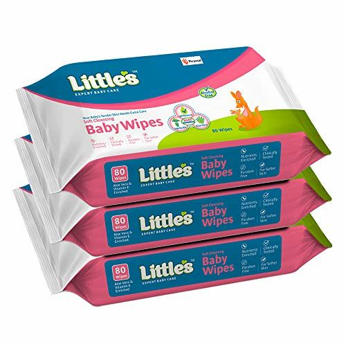 Little's Junior Ring (Multicolour) and Soft Cleansing Baby Wipes with Aloe Vera, Jojoba Oil and Vitamin E (80 Wipes) Pack of 3