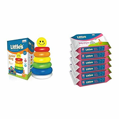 Little's Junior Ring (Multicolour) & Little's Soft Cleansing Baby Wipes with Aloe Vera, Jojoba Oil and Vitamin E (80 Wipes) Pack of 6