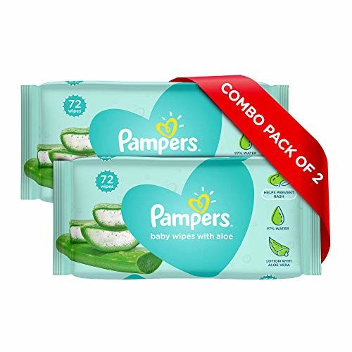 Pampers Baby Gentle Wet Wipes with Aloe, 144 Count, 97% Pure Water