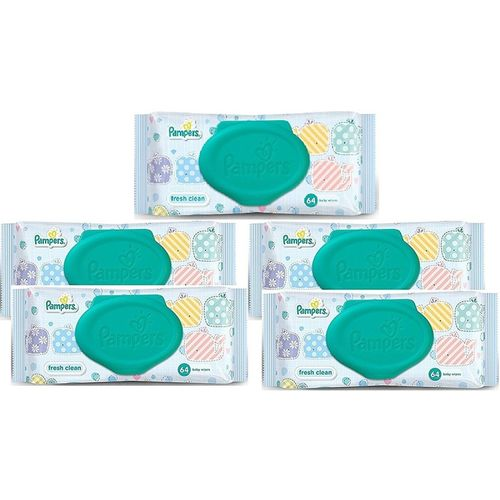 Pampers Fresh Clean Baby Wipes Combo Pack Of 5 (Per Pcs 64 Wipes)(5 Wipes)