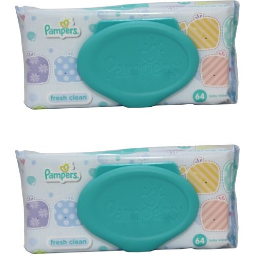 Pampers Fresh Clean Baby Wipes Combo Pack Of 2 pcs (Per Pcs 64 Wipes)(2 Wipes)