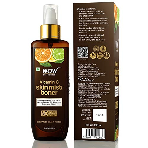 WOW Skin Science Vitamin C Skin Mist Toner with Lemon Essential Oil, Orange Essential Oil With Hazel & Aloe Vera Extracts - For All Skin Types -