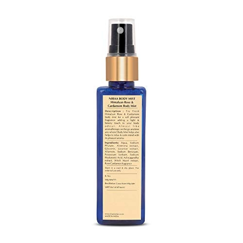 Blue Nectar Uplifting Body Mist with Himalyan Rose and Cardamom for long lasting freshness and aromatic body odor (100 ml)