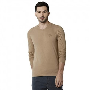 Peter England Beige Cotton Solid Full Sleeves