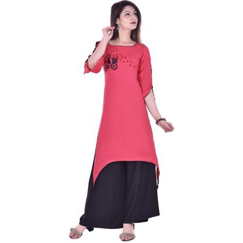 Clothy N Wave Women Applique Trail Cut Kurta(Red)