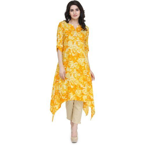 Indibelle Women Printed, Floral Print Trail Cut Kurta(Yellow)