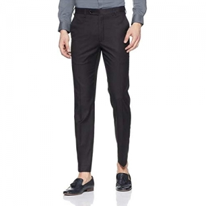 CLASSIO Black Synthetic Mid-Rise Formal Trouser