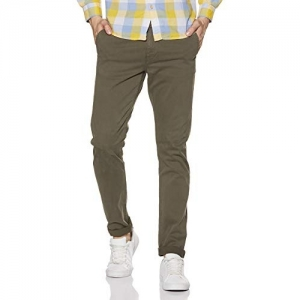 Lee Olive Cotton Solid Slim Fit Casual Trouser