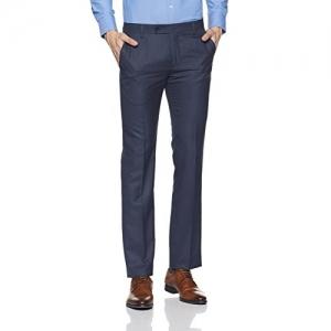 Arrow Navy Blue Polyester Mid Waist Formal Trouser