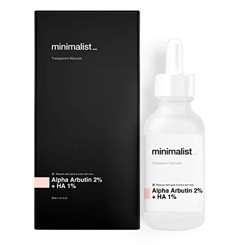 Minimalist Alpha Arbutin 2% for Pigmentation, Blemishes, Dark Spots & Tan Removal - Face Serum with Hyaluronic Acid 1% for All Skin Types, 30ml