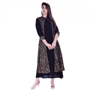 KPF Black Rayon Gown Style with Attached Jacket Kurti