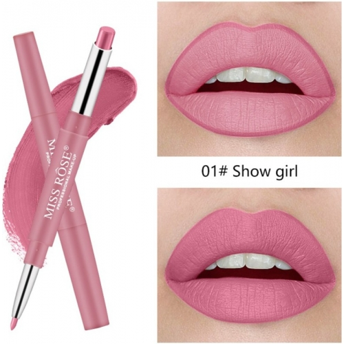Miss Rose 2 In 1 Double Ends Lip Liner Pencil Waterproof Matte Lipstick By (1) - Pack of 1(show girl)