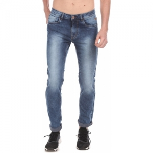 Flying Machine Blue Denim  Tapered Fit Solid Jeans