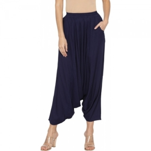 Globus Relaxed Blue Cotton Solid Trousers
