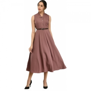 Rudraaksha Pink Crepe Sleeveless Fit and Flare Dress