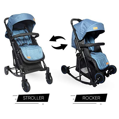 R for Rabbit Rock N Roll - The Rocking Baby Stroller and Pram (Blue)