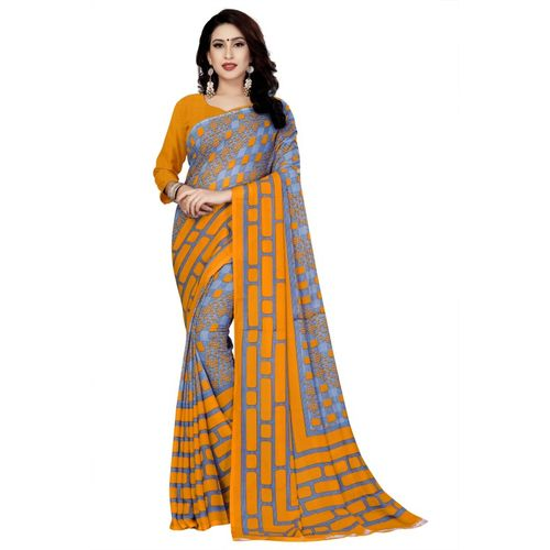 Kara Printed, Self Design, Ombre, Geometric Print, Embellished, Floral Print Fashion Poly Chiffon, Georgette Saree(Multicolor)