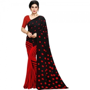 Anand Polka Print Daily Wear Georgette Saree(Red, Black)