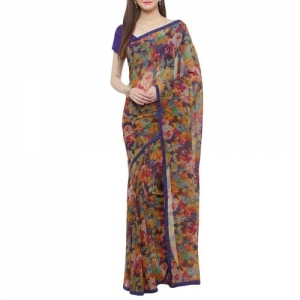 shaily multicolor georgette printed saree with blouse
