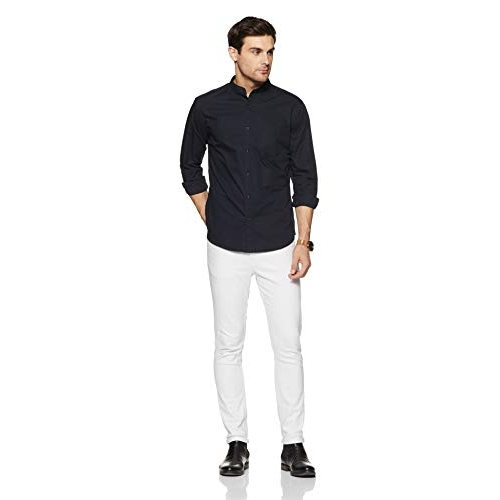 Amazon Brand - Symbol Black Cotton Solid Full Sleeve Casual Shirt (AW-SY-MCS-1146)