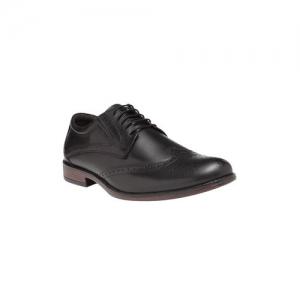 NOBLE CURVE black leather lace-up derbys