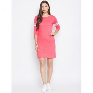 Jhankhi Pink Cotton Solid T Shirt Dress