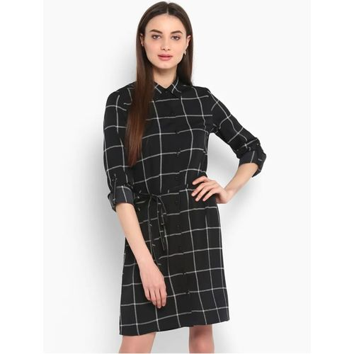 Vivient Women Black Check Printed Buttoned Crepe Short Dress