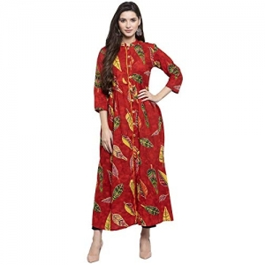 INDIBELLE Red Cotton Leaf Print A-Line Kurta