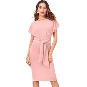 Tfunny Fashion Women's Knee Length Dress (IL D 272_Peach_Small)