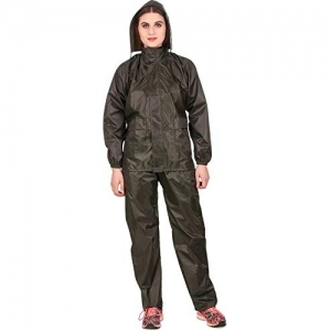 New Vastra Lok Women/Girl's (Top + Pyjama) Black Color Waterproof Windproof Raincoat/Rainsuit/Overcoat/Barsaati Size(M)