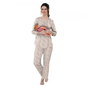 AV2 Beige Cotton Printed Maternity & Feeding Top & Pyjama Set
