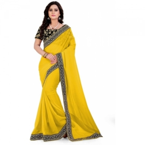 Royal Drift Embroidered Bollywood Poly Georgette Saree(Yellow)