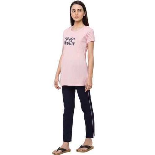 MOMTOBE Round Neck T-Shirt & Pyjamas Set