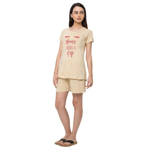 MOMTOBE Typography Print T-Shirt & Shorts Set