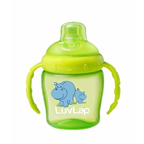 LuvLap Hippo Sipper / Sippy Cup 225ml, Anti-Spill Design with Soft Silicone Spout, 6m+ (Green) & LuvLap Paraben Free Baby Wipes with Aloe Vera, with Fliptop Lid
