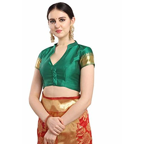 EthnicJunction Women's Woven Silk Blend Floral Half and Half Saree With Blouse Piece