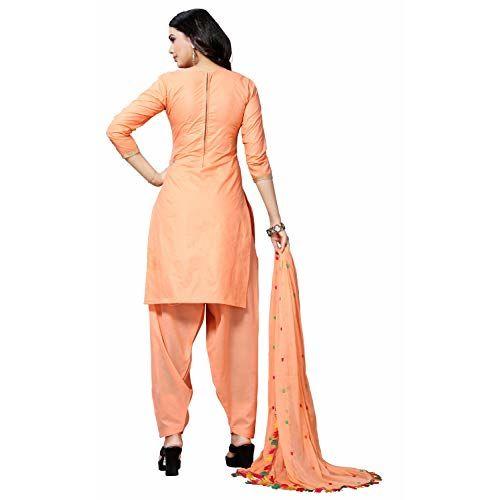 EthnicJunction Peach Chnaderi Cotton Dress Material