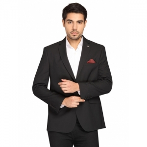 Theme black solid single breasted casual blazer