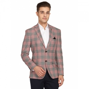 Theme pink checkered single breasted casual blazer