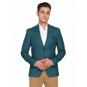 Theme green Cotton solid single casual blazer