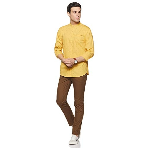 Byford By Pantaloons Men's Printed Slim fit Casual Shirt (110060922_Yellow L)