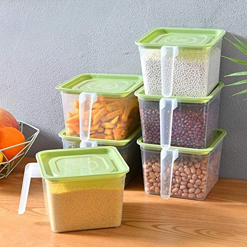 FLYNGO Set of 6 Airtight Kitchen Fridge Organizer Storage Containers Set Plastic Food Storage Box with Lid and Handle - 1600 ml