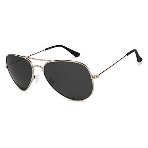 Vincent Chase by Lenskart Full Rim Aviator Shape Polarized Top Guns Unisex Sunglasses (VC 5158/P-C1, Golden Grey)