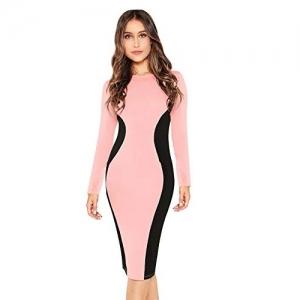 ILLI LONDON Pink Polyester Bodycon Knee Length Dress