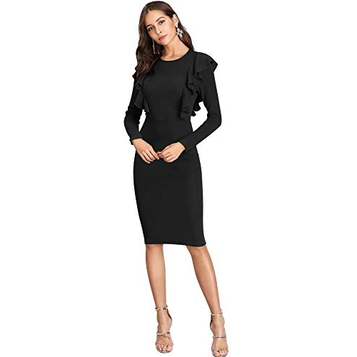 ILLI LONDON Black Polyester Bodycon Knee Length Dress
