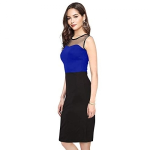 ILLI LONDON Blue Polyester Bodycon Knee Length Dress.
